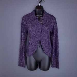 POINT ZERO Cardigan Sweater Crop 1 Button Drape Front Knit Purple Size L Fitted